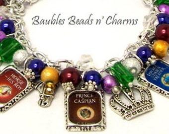 Narnia Books Charm Bracelet, Literary Charm Bracelet Jewelry, Chronicles of Narnia Charm Bracelet Jewelry, CS Lewis Picture Charm Bracelet