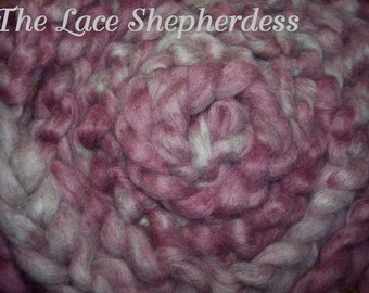 "Hand dyed Coopworth Wool  Roving. 7.9 oz. ""Razz """