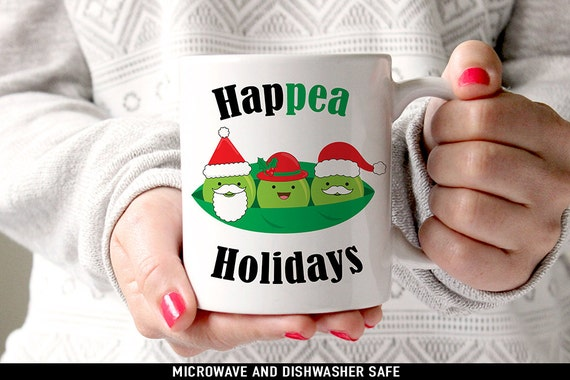 Coffee Mug Hap Pea Holidays Coffee or Tea Mug - Great Holiday Gift for Vegan or Vegetarian - Funny Mug