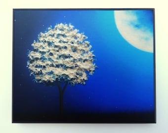 White Tree at Night Landscape Print, Wood Mounted Print, Moon Art, Whimsical Art on Wood Panel, Blue Night Art Nightscape Ready to Hang, 4x5
