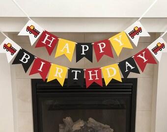 Fire Truck Birthday Banner, Happy Birthday Banner, Boy Birthday Decorations, Fire Trucks, Fire Men, First Birthday, Photo Prop, Fire Engine