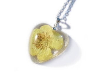 Yellow Buttercup Heart Necklace- Resin Necklace - Real Dried Flower - Nature Jewelry - Valenwood Vixen - Ready to Ship