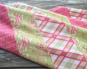 Patchwork Baby/Toddler/Crib Blanket/Quilt, Nursery Decor, Photography Prop ~ Pink//Girly//Plaid//Flowers//Feminine