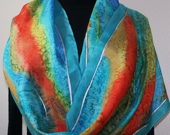 Silk Scarf Hand Painted Turquoise, Orange Hand Dyed Silk Scarf MOUNTAIN TRAIL. Large 14x72. Silk Scarves Colorado. Christmas, Birthday Gift