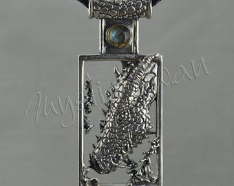 Dragon Pendant with Stone Accent and Scale Tube Bail