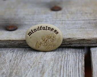 mindfulness purse and pocket stone, hand painted floral mementos on clay