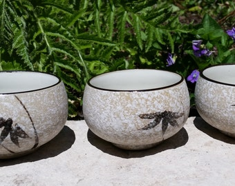 Set of 3 Vintage Japanese Traditional Tea Cups - Hand Painted Stoneware