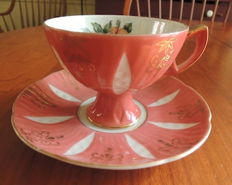Teacup, Lustre ware, Iridescent color, Coral w Rose pattern inside cup, Excellent condition, Vintage