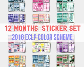 Yearly Planner, Yearly Planner Stickers, Yearly Stickers, 2018 Yearly Planner, Planner Stickers, Stickers, Life Planners, 12 Months Set