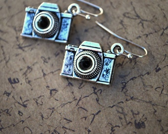 Camera Earrings -- Photography, Silver Cameras