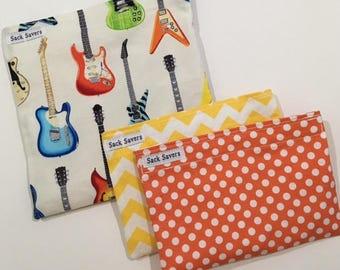 Reusable Sandwich and Snack Bag Set  of Three Guitar Orange Polka Dot Yellow Chevron Set