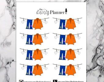 Planner 70s Disco Clothesline Laundry Functional Stickers - Erin Condren, Kikki K, Emily Ley, Plum Paper, Happy Planner