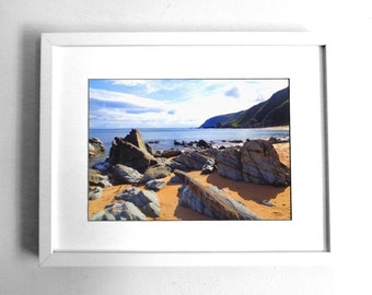 Beach rocks picture Irish photo landscape photograph original art print Donegal photo Atlantic sea coast Ireland Framed seashore sea print O