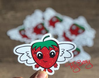 Kids Strawberry Stickers - Fruit Lover Stickers - Food Vinyl Sticker - Cute Strawberry Stickers - Kids Birthday Party Favor - Kids Treat Bag