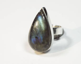 Labradorite Ring Silver Size 7.2 (7) Unique 266