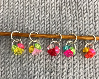 Flower and Crystals stitch markers - set of 5 for knitting or crochet