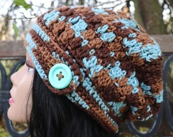 Earth and sky slouchy beanie teen and adult acrylic slouchy hat