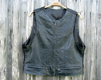 Gray Leather Vest, 1990s Vintage Mossy Gray Soft Lambskin Leather Waistcoat, Motorcycle Biker Vest: Size 40-42 (US/UK)