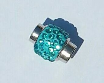 Magnetic Clasp - Kumihimo  - Platinum plated brass - Aquamarine - Polymer clay with Rhinestones - 18 x 13 mm - 7mm hole