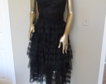 Vintage 1980's Black Strapless Party Dress* Bridesmaid Prom Size 5 . TD4 by Eletra .