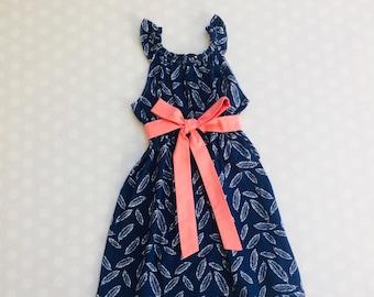 Feather Dress - Baby Girl Dress - Girls Dresses - Sleeveless Dress - Summer Dress - Spring Dresses - Navy Dress - Handmade - Feathers