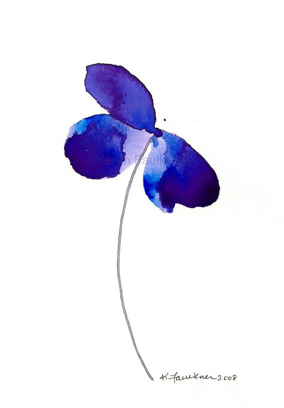 "Watercolor flower art print: ""Blue Violet Beauty"""