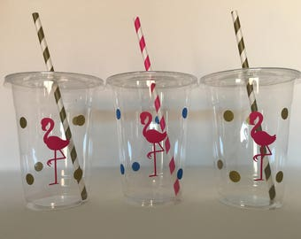 Flamingo party cups, Flamingo Birthday Party cups, Flamingo Party Favor Cups, Flamingo Baby Shower Cups