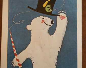 Polar Bear Vintage Circus Poster - Poster Size Vintage Book Plate Knie