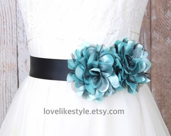 Blue and Black Flower Sash Belt, Bridal Blue Sash, Bridesmaid Sash, Flower Girl Sash Belt, Black Sash