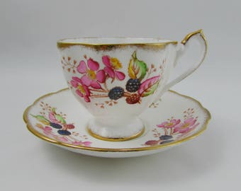 "Queen Anne Tea Cup and Saucer, ""Country Gradens"", Bramble, Blackberries, Vintage Bone China, Teacup and Saucer"
