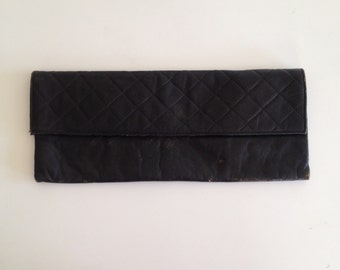 Vintage Leather Quilted Clutch Purse