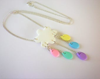 White rain cloud necklace pastel imaginary magical gift