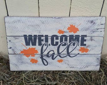 Fall pallet sign, Welcom fall, Rustic pallet wood sign, Rustic Wood sign, Wooden sign, Rustic Wooden fall signs