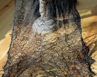 85 cm * 30 cm chantilly lace Black Lace fringe-LACE BLACK Ref. 2306