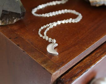 Silver Moon Necklace - Crescent Moon Pendant, Fine Silver with Sterling Silver Chain, Magical Necklace for Intuition and Empowerment