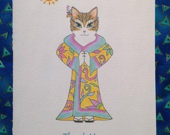 Cat Yoga Thank You Card - Yoga cat in Kimono - Blank Greeting Card