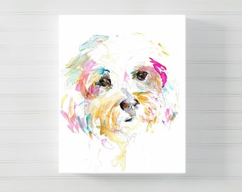 Mrs Sophie Canvas Art, Canvas Dog Art, Watercolor Dog on Canvas, Shih Tzu Painting, Dog Painting, Watercolor Dog Print, Dog Art