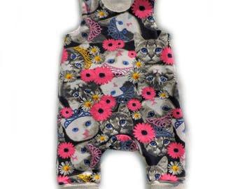 Mitwachsstrampler Strampler Baby Jersey Katzen 44 bis 92 Handmade