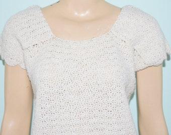 Vintage 70's White Knit Mod Hippie Sweater Top Blouse - Size M