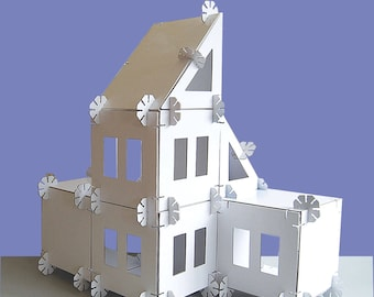 Modern Dollhouse Kit, Cardboard Dollhouse Kit, Modular Dollhouse
