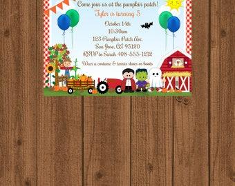 Pumpkin Patch, Birthday Invitation, Halloween Invitation, Halloween Costume Party, Fall Birthday Invite, Printable Invite,Halloween Birthday