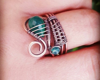 Green wire wrapped ring wire wrapped jewelry handmade copper ring onyx jewelry rings gemstone band ring green stone jewelry wire wrap stone