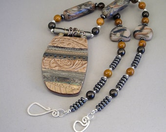 Handcrafted Necklace - Bronze Green Stamped Wire Wrapped No. 145