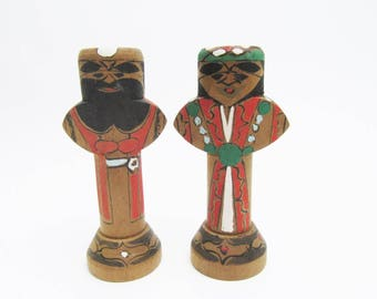 Vintage AINU pair Kokeshi Dolls.couple.Japanese Folk Art.Wooden Craft.#mk18