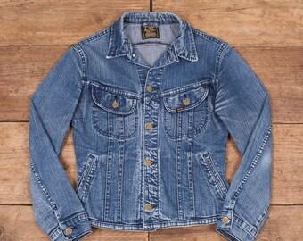 Womens Vintage Lee Faded Dark Blue Denim Trucker Jacket Medium 10 R6203