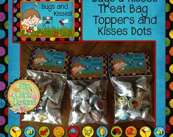 Bugs and Kisses Printable Bag Toppers & Kiss Dots