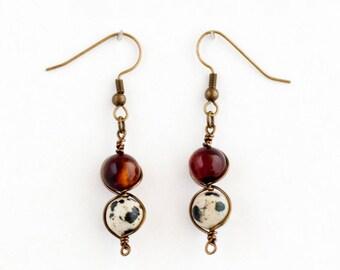 carnelian earrings, healing earrings, dalmatian jasper, earrings, dangle earrings, handmade earrings, crystal earrings, carnelian, jasper