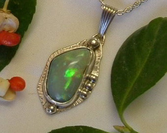 Ethiopian Fire Opal Necklace Sterling Silver Large Gem Broad Flash OOAK Fire Statement Jewelry Green Red Orange Blue Yellow Fire 368 G