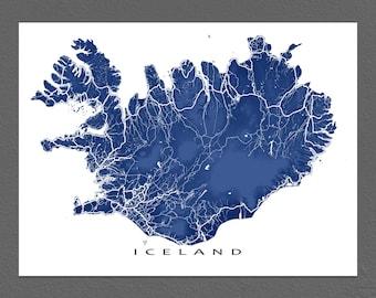 Iceland Map Print, Iceland Poster, Map Art Print