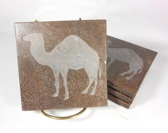 Camel Coasters Set - 4 High Quality Etched Slate Coasters - Carved Animal Drink Coasters, AA Recognition Gift, Camel Gift Item Camel Decor